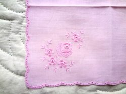 画像1: ハンカチ 薔薇 ピンク 曲線エッジ(在庫限り)